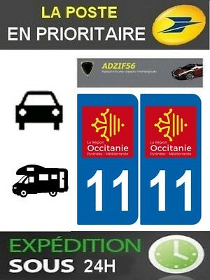 2 Stickers Plaque Auto Immatriculation Departement 11 Logo Region Occitanie