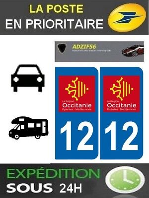 2 Stickers Plaque Auto Immatriculation Departement 12 Logo Region Occitanie