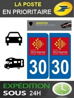2 Stickers Plaque Auto Immatriculation Departement 30 Logo Region Occitanie