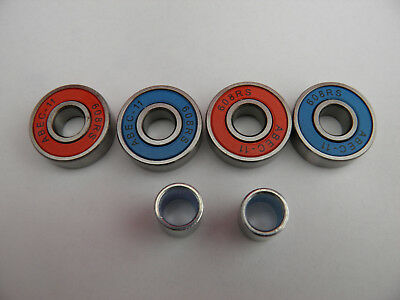 4 x ABEC 11 SCOOTER SKATEBOARD BEARINGS *NEW* MASH UP RED and BLUE