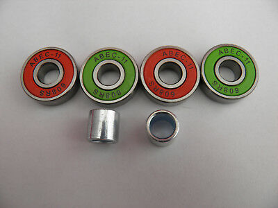 4 x ABEC 11 SCOOTER SKATEBOARD BEARINGS *NEW* MASH UP RED and GREEN