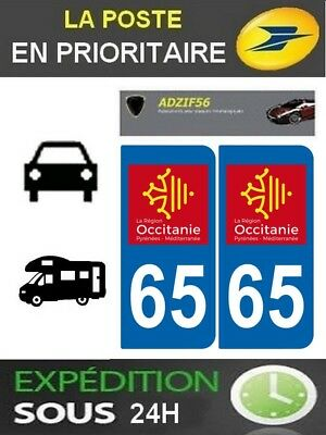 2 Stickers Plaque Auto Immatriculation Departement 65 Logo Region Occitanie