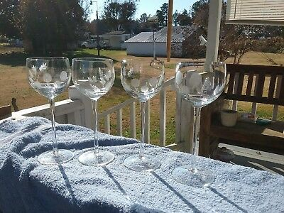 Etched Crystal Ballon Wine Glasses  Set of 4