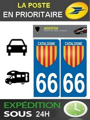 2 Stickers Plaque Auto Immatriculation Departement 66 Blason Catalan Occitanie