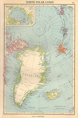 Antique Map 1947 Bartholomew North Polar Lands