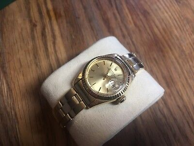 Vintage Solid Gold Rolex Watch Ladies Oyster Perpetual Lady Date Yellow 18K 1978