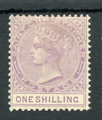 St Christopher 1882-90 1s mauve SG20 MM - quite lightly hinged