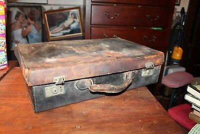 Antique Leather Suitcase w/ United States Lines & Santa Fe  FIRST CLASS Decal