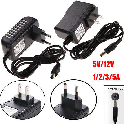 Charger 5.5mm x 2.5mm DC 5/12V 1/2/3/5A Power Supply AC 100-240V Power Adapter
