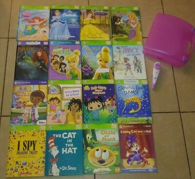 Lot of 16 Leap Frog Leap Tag Reader Books and Pen with Carrying Case