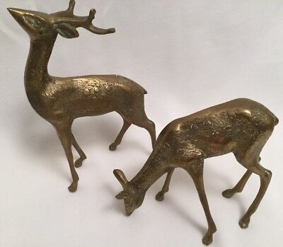 Pair of Vintage Mid Century Brass Spotted Buck and Doe Deer Statues EUC