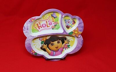 "Dora the Explorer 9"" inch Divided Toddler Baby Food Platter Plate Dish -Lot of 3"