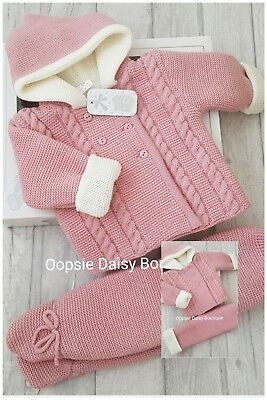 Spanish/Portuguese Dusky Pink & Ivory Double Knitted Pram Suit - Gift Boxed