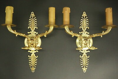 Pair Of Sconces, Swan Heads, Empire Style - Bronze - French Antique