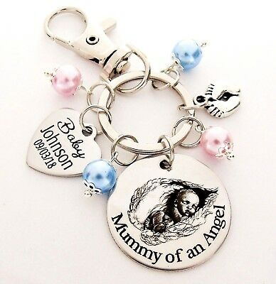 Mummy of an angel Personalised Keyring loss of baby child infant miscarriage