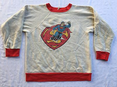 RARE VINTAGE 60s 70s SUPERMAN RINGER YOUTH SWEATSHIRT DC COMIC BOOK