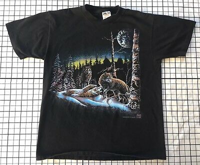 Vintage 1993 WOLF WOLVES t shirt 90s retro art forest pack