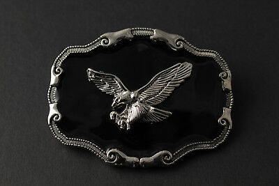 Black & Silver Flying Eagle Belt Buckle Metal Western Cowboy Country