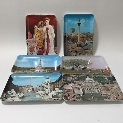 Set Of 6 Small Melamine Souvenir Trays Plates Made In Italy