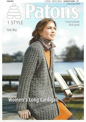 fe6fc78b1ea0a VAT Free Knitting PATTERN ONLY Patons Ladies Long Cardigan Fab Big 4040 New