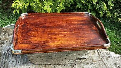 Art Deco Vintage Beautiful Wooden Tray With Silver Metal Corners *