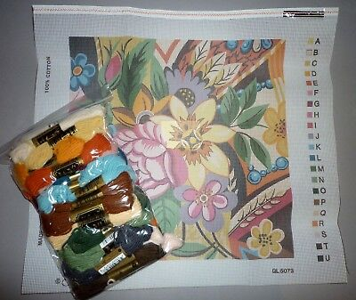 GLORAFILIA vintage GYPSY FLOWERS  TAPESTRY NEEDLEPOINT KIT with ANCHOR WOOLS