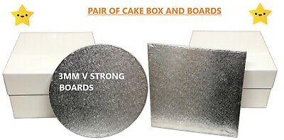 "White Cake Boxes & Boards 8"" 10""12""14""16"" Inch,(3MM V Strong Board) Parties....."