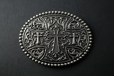 Large Oval Cross Belt Buckle Floral Pattern Metal