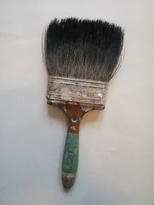 Wooden Green Chippy Paint Vintage Paint Brush Horse Hair? Shabby Chic French