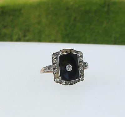 Art Deco Style Ring - Simulated Onyx & Faux 'Stones' - Band Marked 9Ct & Silver