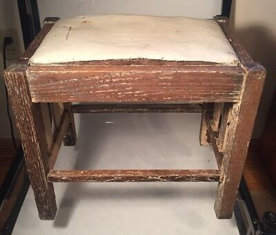 Vintage Antique Wood Foot Stool Vinyl Cushion Primitive Mission Shabby Chic