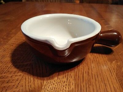 HALL China Brown Restaurant Ware Onion SOUP CHILI Handled Serving Bowl 645 USA