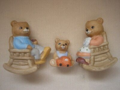 Rocking Chair Family Teddy Bear Trio HOMCO 1470 Condition New in Box set / 3