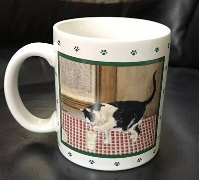 Brand New In Box Vintage 1984 Lowell Herrero Vandor Black Cat At The Door Mug