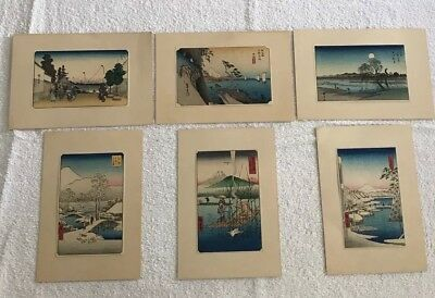 "Antique Original Japanese Woodblock 6x4"" Print Set Of 6 Signed"