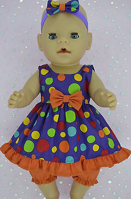 "Play n Wear Doll Clothes To Fit 17"" Baby Born MULTI DOT DRESS~BLOOMERS~HEADBAND"