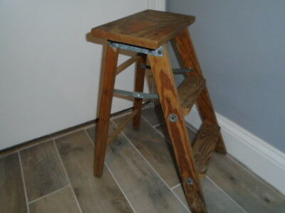 vintage Folding Three Step Wood Ladder Stool Patina great  Naturally Aged Shabby