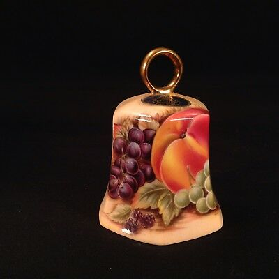 Vintage Orchard Gold by AYNSLEY England Fine Bone China Hexagonal Bell Signed