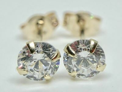 9K Solid Yellow Gold Round Diamond Solitaire Studs Earrings