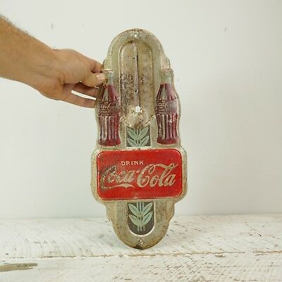 Vintage Original 1941 Coca Cola Wall Thermometer With 2 Bottles antique