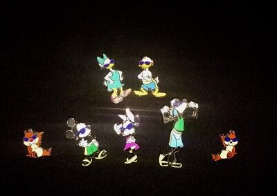 Pin Trading Disney Pins Lot of 7 Cool Characters Set Beach Mickey Mouse Chip