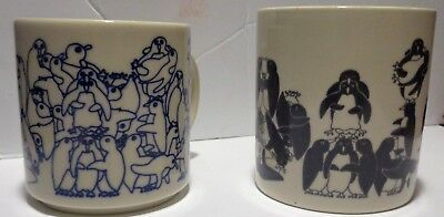 Taylor & Ng Penguin Orgy Lot Of Two Pair of Mugs Dated 1979 1984 Naughty Coffee