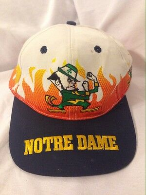 "Vintage Notre Dame Fighting Irish Football ""On Fire"" Snapback Hat Cap"