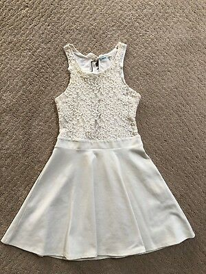 1af45187e22 Urban Outfitters Kimchi Blue Womens Ivory Lace + Bow Skater Dress Size M