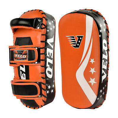 VELO Curved Arm Pad Thai Kick Boxing Strike MMA Focus Muay Punch Shield Mitts