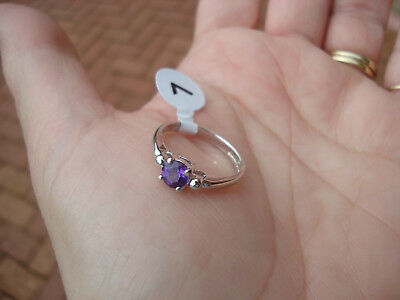 Sweet Natural Purple Amethyst Ring Set In Stamped 925 Sterling Silver