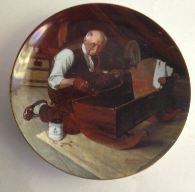 """The Edwin M Knowles China Company Plate """" Grandpa's Gift """" Norman Rockwell 8.5"""""""