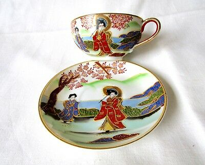 Antique Japanese Eggshell Porcelain Kutani Cup And Saucer