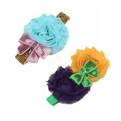 Baby flower headband with sparkly sequin bow Hair Accessories for Christmas Gift