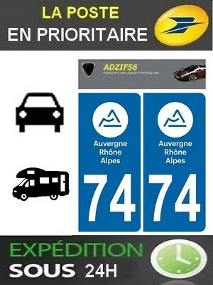 2 Stickers Plaque Auto Immatriculation Departement 74 Logo Auvergne Rhone Alpes